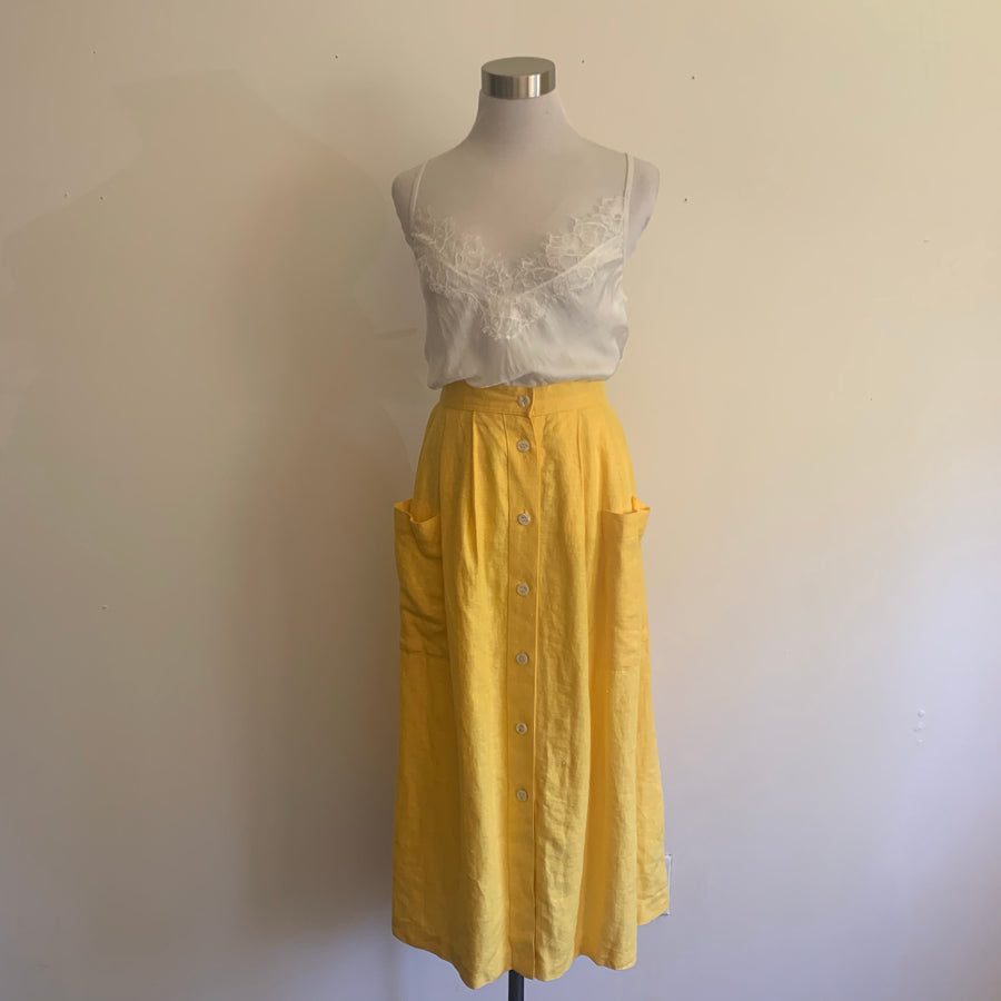 Chaus yellow linen skirt