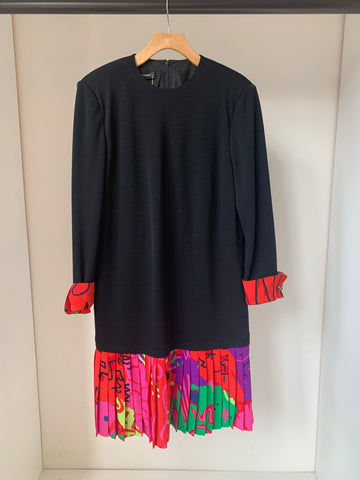 Louis Feraud black dress with multicolored skirt