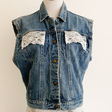 Calvin Klein denim vest with lace