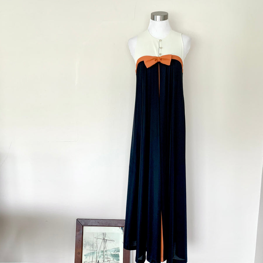 Cream, Orange & Black Maxi Dress