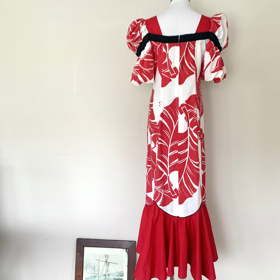Red, White & Black Hawaiiana Dress