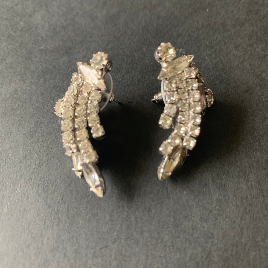Curved Rhinestone Earrings