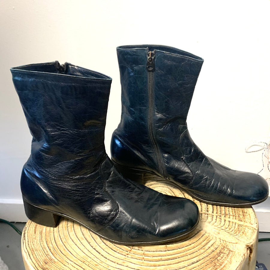 Christian Dior Monsieur Navy Leather Boots