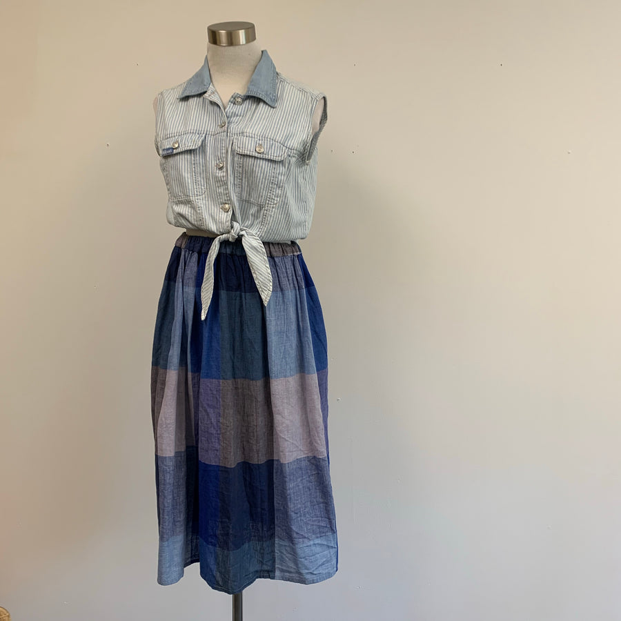 Blue plaid cotton skirt