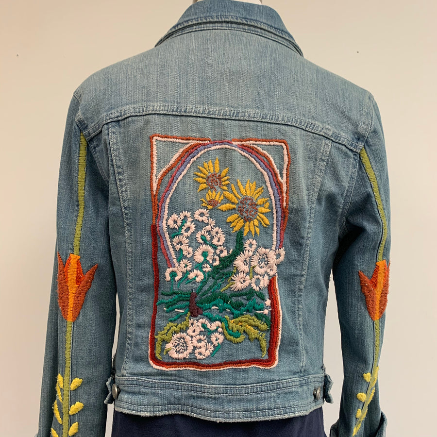 Pilcro and the Letterpress embroidered denim jacket