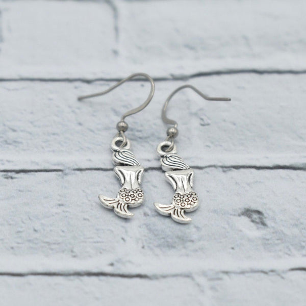 Mermaid - Antique Silver - Dangling Earrings - Beach Themed Gifts