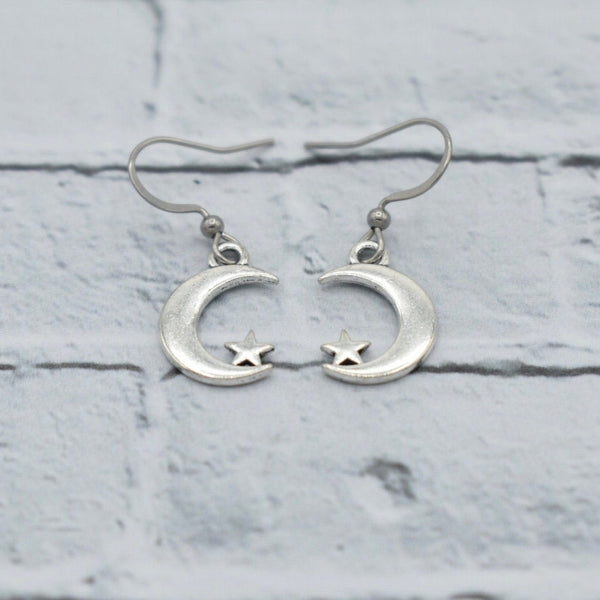 Moon and Star - Antique Silver - Dangling Earrings - Celestial Gifts