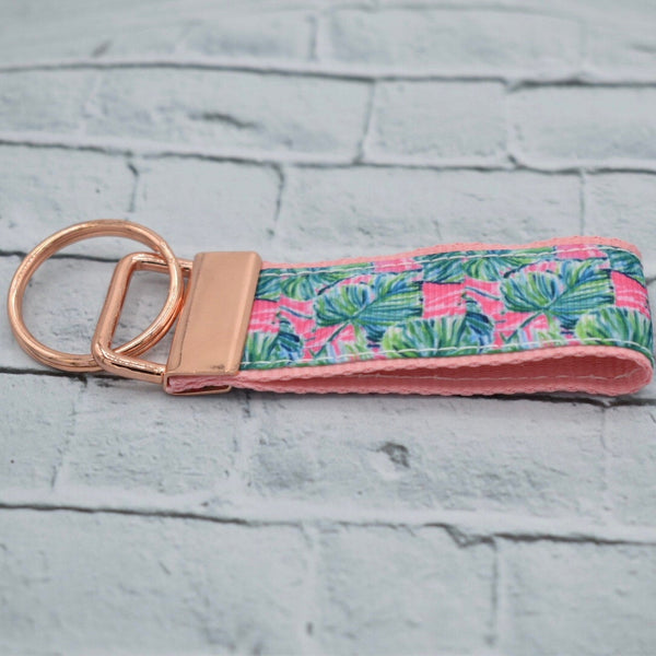 Lilly Inspired - Pink and Green - Lightweight - Rose Gold - Key Fob - Women's Gifts