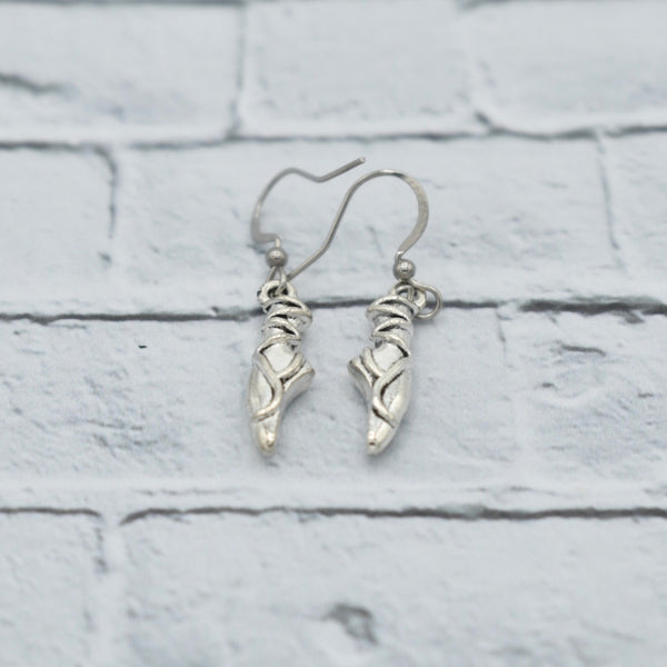 Ballet Shoes - Silver - Dangling Earrings - Ballerina Gifts