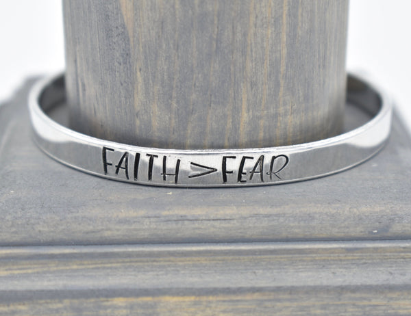 Faith Over Fear - Hand Stamped - Bracelet Cuff - Women's Gifts