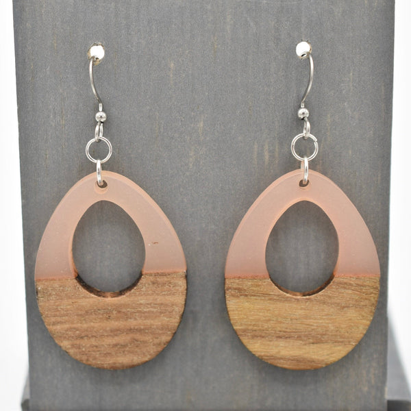 Rose - Resin and Wood - Open Drop Earrings - Women's Gifts