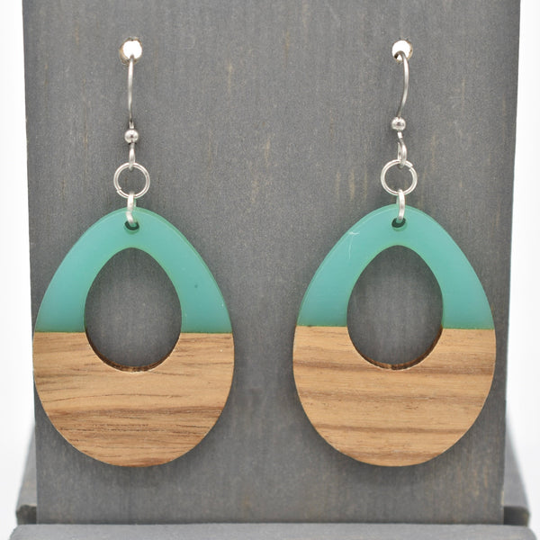 Turquoise - Resin and Wood - Open Drop Earrings - Women's Gifts