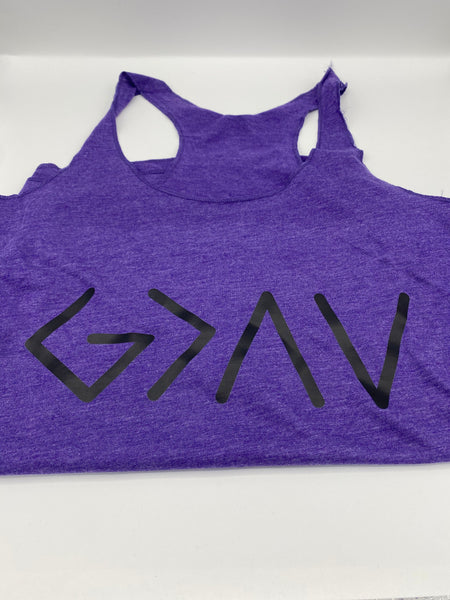 God is Greater Than the Highs and Lows  - Purple - Tank Top - Graphic Tee - Funny T-Shirt - Women's Gift