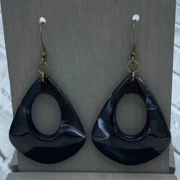 Black - Acrylic - Open Drop Earrings - Women's Gifts