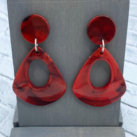 Red - Acrylic - Open Drop Stud Earrings - Women's Gifts