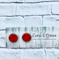 10mm - Red - Synthetic Gemstone - Stainless Steel - Earring Stud - Women's Gifts - Luna & Grace