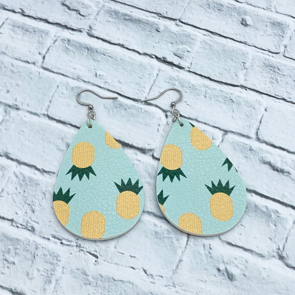 Pineapple - Faux Leather - Teardrop Earrings - Women's Gifts - Handcrafted Jewelry - Luna & Grace
