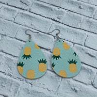Pineapple - Faux Leather - Teardrop Earrings - Women's Gifts