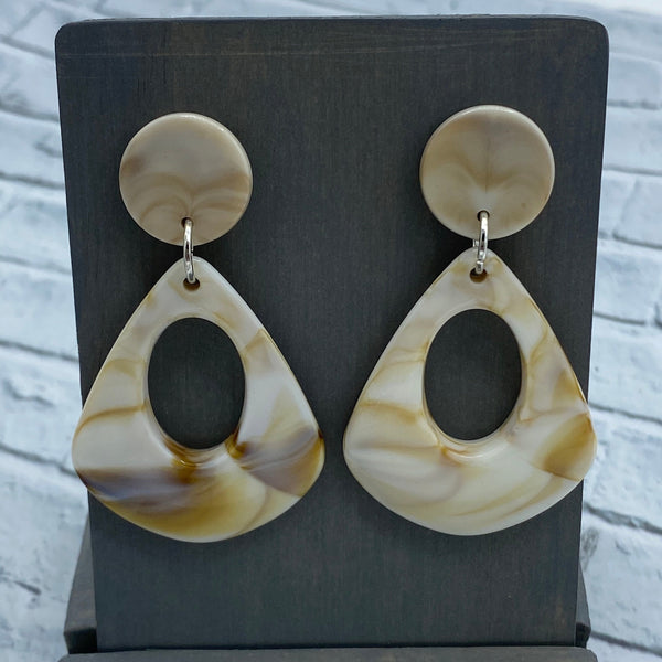 Ivory - Acrylic - Open Drop Stud Earrings - Women's Gifts