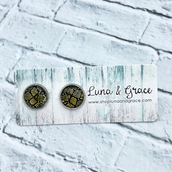 10mm - Animal Print - Stainless Steel - Earring Stud - Women's Gifts - Luna & Grace
