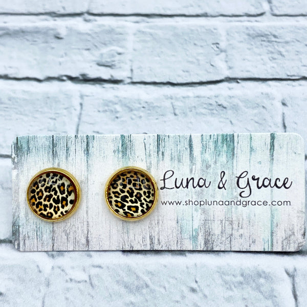 10mm - Animal Print - Gold Plated -  Stainless Steel - Earring Stud - Women's Gifts - Luna & Grace