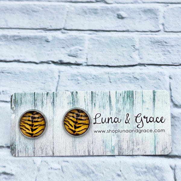 10mm - Animal Print - Stainless Steel - Earring Stud - Womens Gifts - Luna & Grace