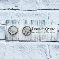 10mm - White - Synthetic Gemstone - Stainless Steel - Earring Stud - Women's Gifts - Luna & Grace