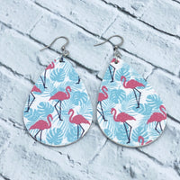 Flamingo - Faux Leather - Teardrop Earrings - Lily Inspired - Women's Gifts - Handcrafted Jewelry - Luna & Grace