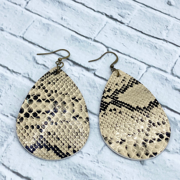 Snake Skin - Faux Leather - Teardrop Earrings - Animal Print - Women's Gifts - Handcrafted Jewelry - Luna & Grace