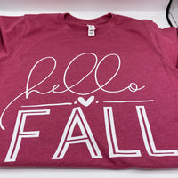Hello Fall - Heather Raspberry - Graphic Tee - Fall - T-Shirt - Luna & Grace