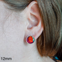12mm - Pink Glitter - Cabochon - Ribbon - Stainless Steel - Earring Stud - Women's Gifts - Luna & Grace