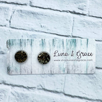 10mm - Olive Green - Resin and Glitter - Stainless Steel - Earring Stud - Women's Gifts - Luna & Grace