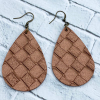 Camel - Weave - Faux Leather - Teardrop Earrings  - Women's Gifts - Handcrafted Jewelry - Luna & Grace