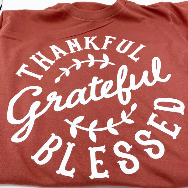 Thankful Gratetful Blessed- Heather Autumn - Graphic Tee - Fall - T-Shirt - Luna & Grace