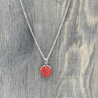 12mm - Cherry Red - Faux Druzy - 18 inch - Stainless Steel - Necklace - Woman's Gift - Luna & Grace