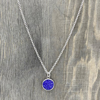12mm - Royal Blue - Faux Druzy - 18 inch - Stainless Steel - Necklace - Woman's Gift - Luna & Grace