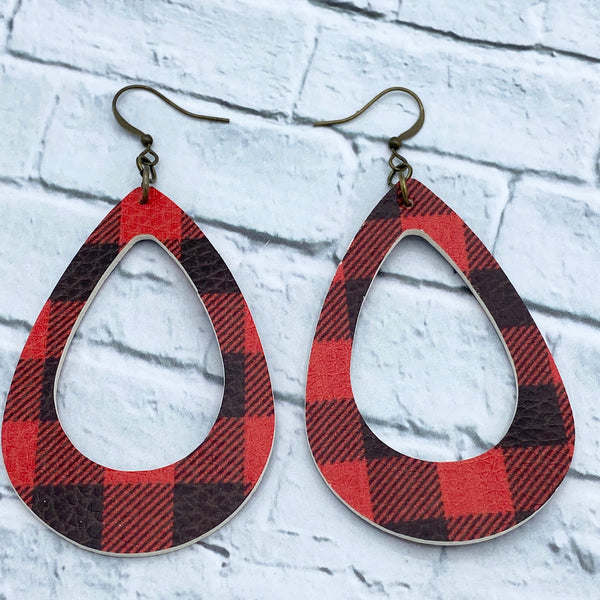 Buffalo Plaid - Faux Leather - Open Drop Earrings - Women's Gifts - Christmas Gifts - Farmhouse Jewelry