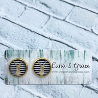 12mm - Deer - Cabochon - Gold Plated - Stainless Steel - Earring Stud - Women's Gifts - Luna & Grace