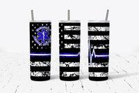 Emergency Medical Services - EMS - Blue - Flag - 20oz Tumbler - With Straw - Stainless Steel