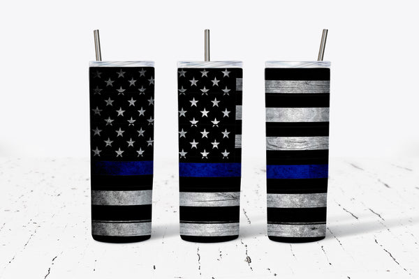 Thin Blue Line - Flag - 20oz Tumbler - With Straw - Stainless Steel - Police Gift