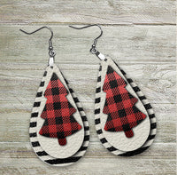Southern Christmas - Buffalo Plaid Christmas Tree - Teardrop Earrings  - Women's Gifts - Handcrafted Jewelry - Luna & Grace