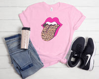 Pink Lips - Leopard Tongue - Valentines Day - Heather Bubble Gum Pink - Graphic Tee - Fun Gift