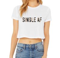 Single AF - Black & Leopard - Short Sleeve Crop Top - Graphic Tee - Mama Tee