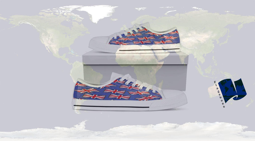 Union Jack Canvas Low Tops with FLAGSHOES logo, great original gift ideas, superimposed on a picture of the globe