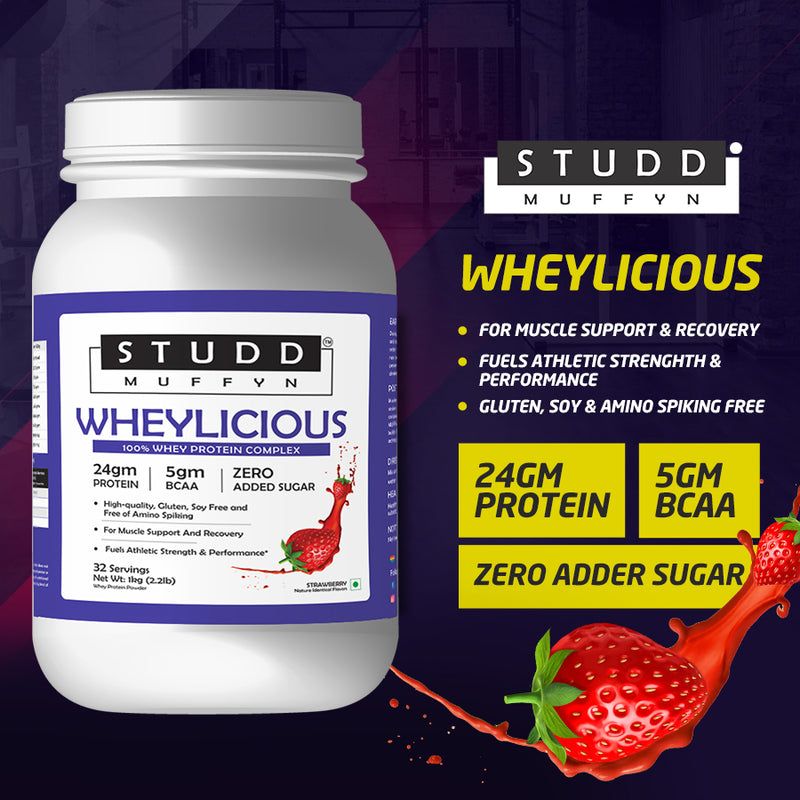 Studd Muffyn Wheylicious , Concentrate Protein ( Strawberry- 1KG / 2KG )