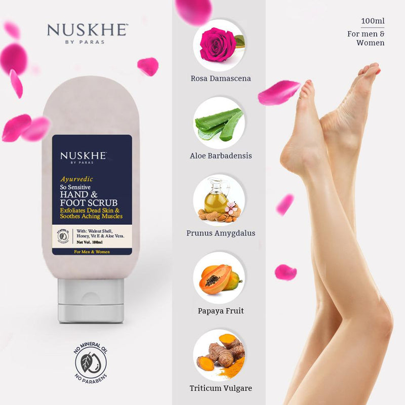 Nuskhe by Paras Ayurvedic So Sensitive Hand And Foot Cream And Scrub Combo