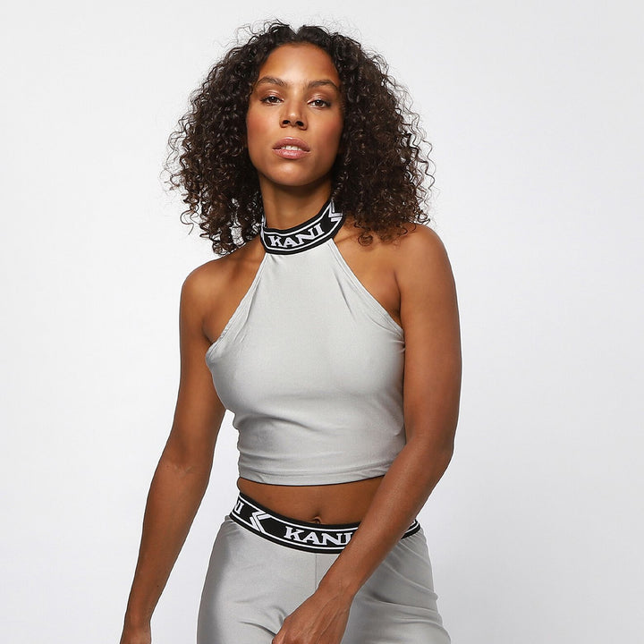 KARL KANI COLLEGE SLEEVELESS TOP SILVER
