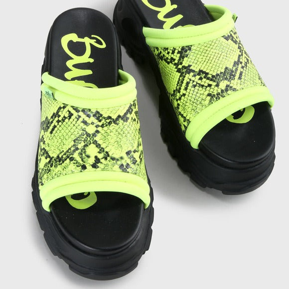 BUFFALO GLDR OT SANDAL IMI LEATHER NEON GREEN