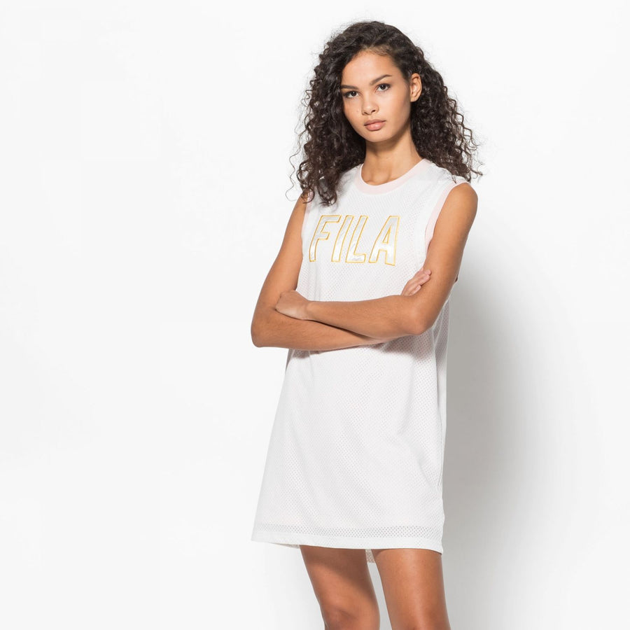 FILA CANDELA MESH DRESS WHITE AND PINK