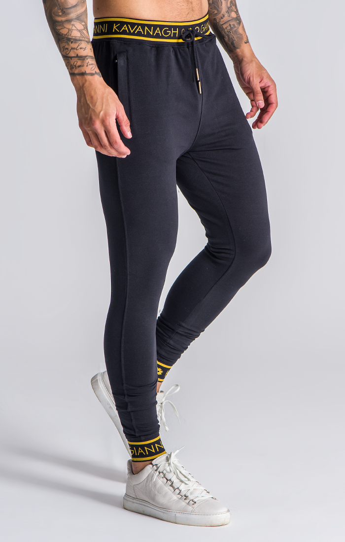 GIANNI KAVANAGH BLACK JOGGERS WITH GOLD GK ELASTIC BLACK